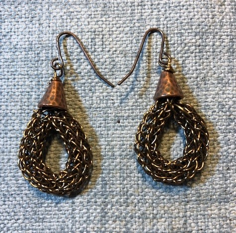 Sweet Bronze Viking Knit Earrings